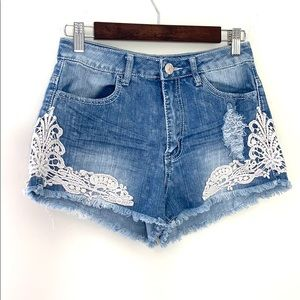 Crave Fame Distressed Jean Shorts